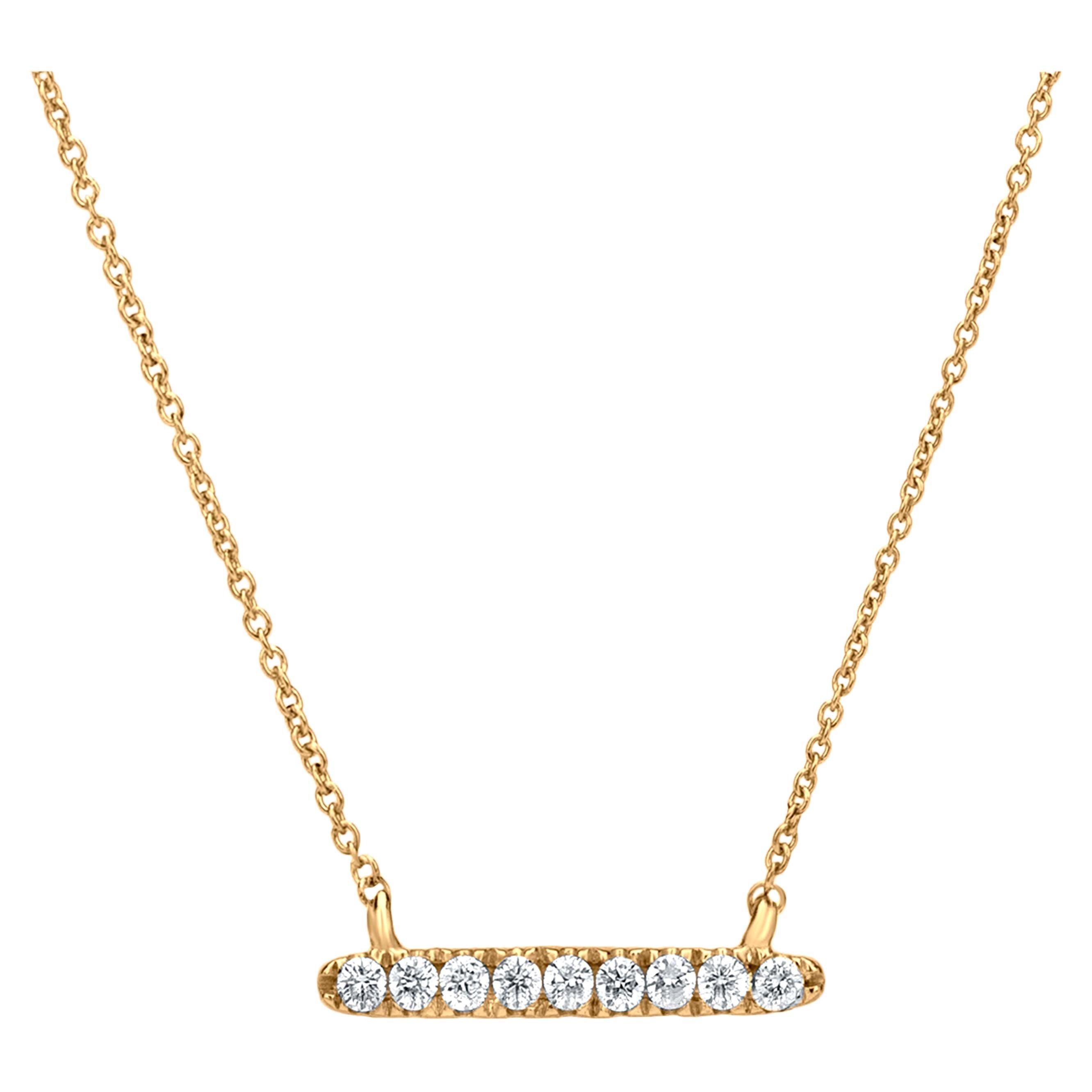 Diamond Bar Pendant Necklace in 18k Yellow Gold