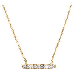 Bar Diamond Pendant Necklace in 18K Yellow Gold