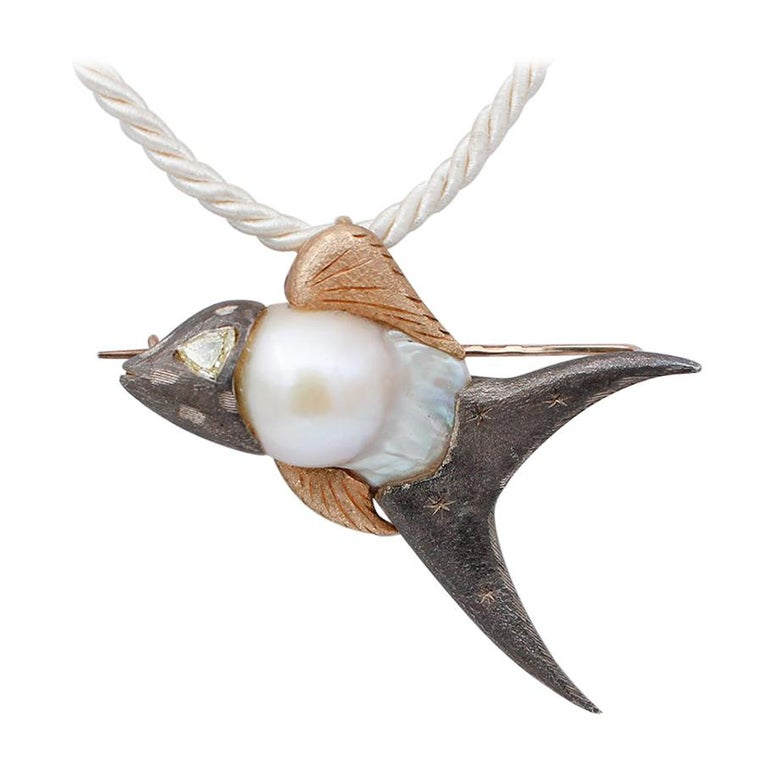 Diamond, Baroque Pearl 9 Karat Rose Gold and Silver Fish Brooch/Pendant Necklace For Sale