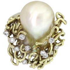 Diamond Baroque Pearl Vintage Ring