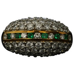 Diamond Bauble Ring with Emerald Accents
