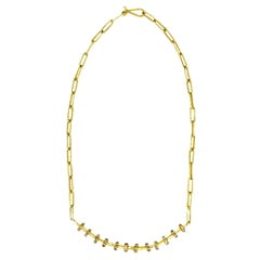 Diamond Beaded 22 Karat Gold Chain Link Necklace