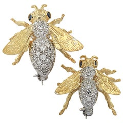 Diamond Bee Brooch Pin Set