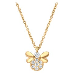 Bee Diamond Pendant Necklace in 18K Yellow Gold