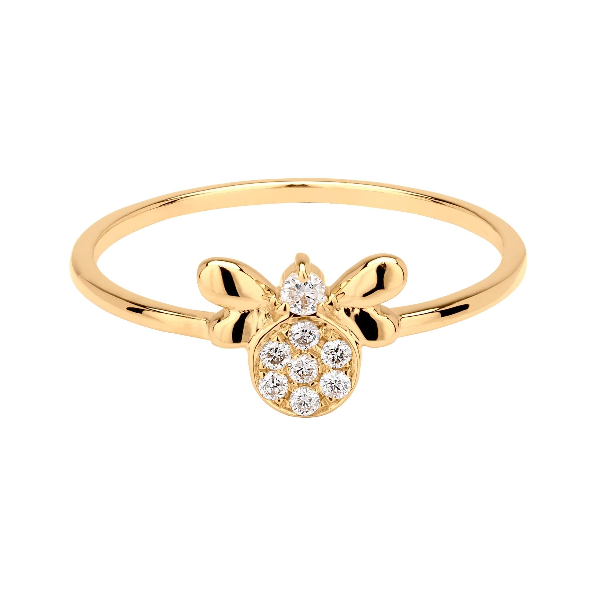 Diamond Bee Ring in 18K Yellow Gold