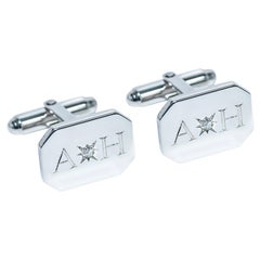 Diamond Bespoke 18 Kt White Gold  Rectangular Engraved Modern Hasbani Cufflinks