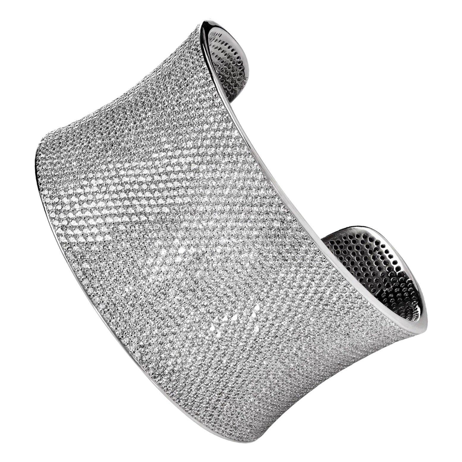 Diamond Bespoke 47 Carat Bangle 18 Karat White Gold Wide Cuff Dazzling Bracelet