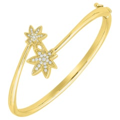 Diamond Best Friend Tennis Bangle 14 Karat Gold-Plated