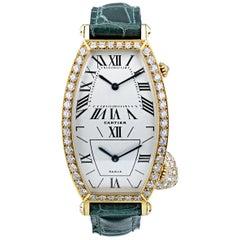 Diamond Bezel Dual Time Tonneau Wristwatch by Cartier