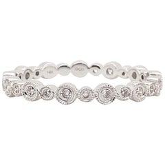 Diamond Bezel Eternity Band, 14 Karat White Gold Round Diamond Stackable Ring