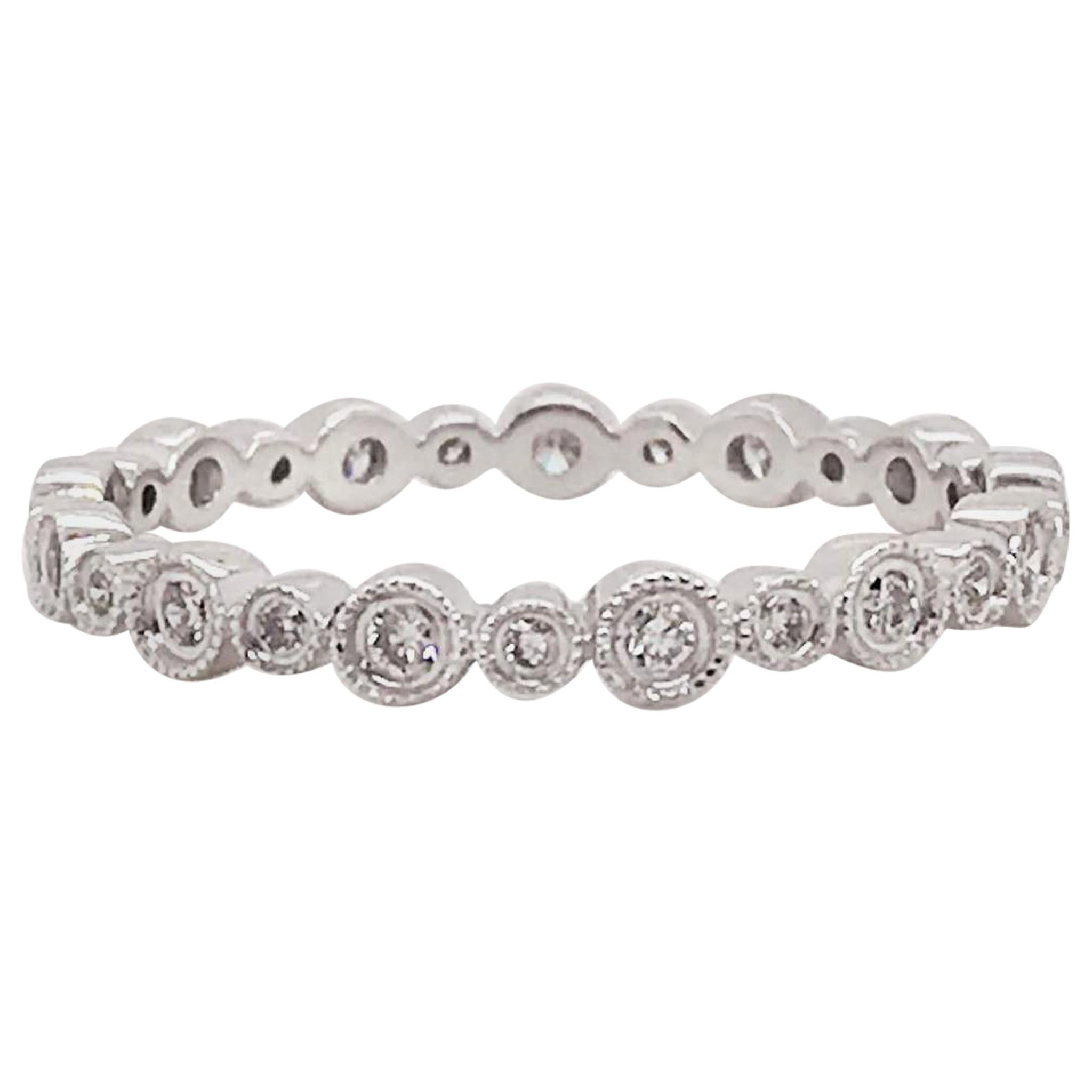 Diamond Bezel Eternity Band 14K White Gold Multi Size Round Diamond Stackable