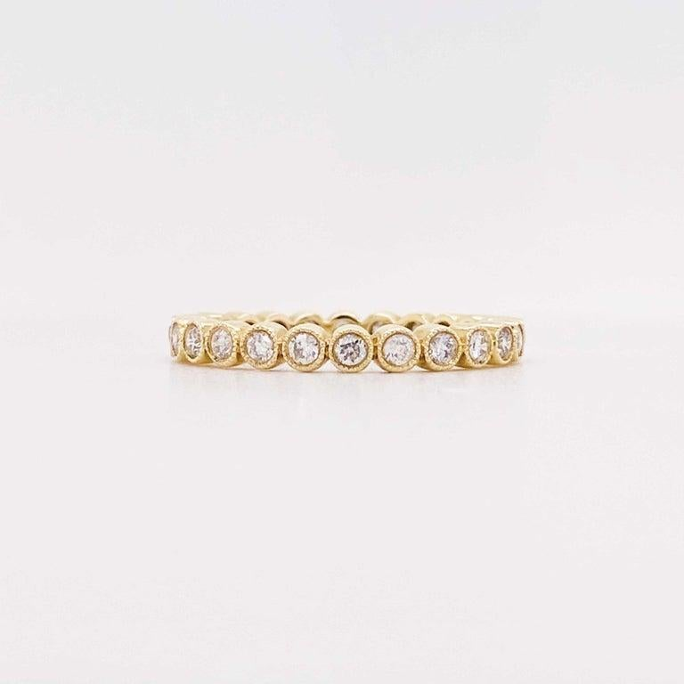 Round Cut Diamond Bezel Eternity Band 14K Yellow Gold Stackable Half Carat Diamond Band For Sale