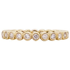 Diamond Bezel Eternity Band 14K Yellow Gold Stackable Half Carat Diamond Band