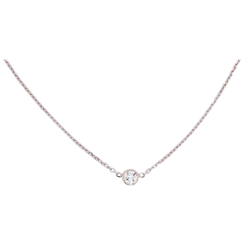 Diamond Bezel Necklace with 0.30 Carat Round Brilliant White Diamond Chain