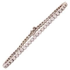 Diamond Bezel Set White Gold Tennis Line Bracelet