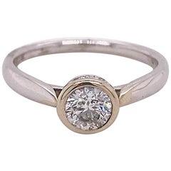 Diamond Bezel Solitaire Engagement Ring White Gold Hidden Halo .59 Carat