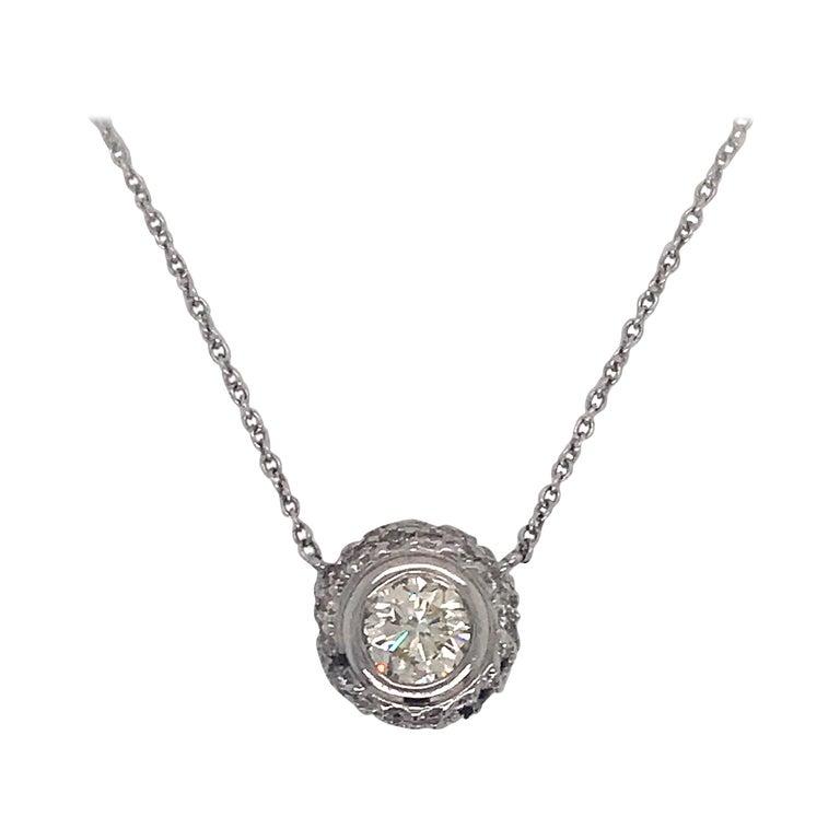 Diamond Bezel with Halo Pendant Necklace 1 For Sale