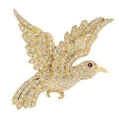 Diamond Bird Brooch Pin