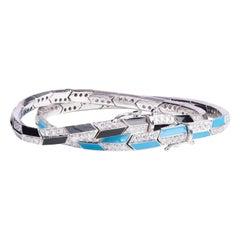 Diamond Black and Blue Enamel Bangle Pair