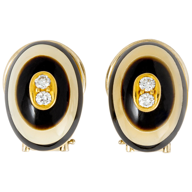 Diamond Black and White Stone on Yellow Gold 18 Karat Earclips