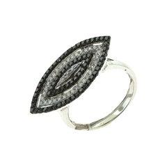 Diamond and Black Diamond White Gold Marquise Shaped Ring