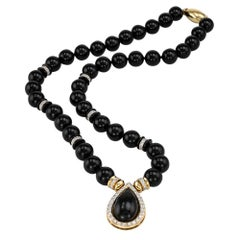 Diamond Black Onyx Yellow Gold Bead Drop Necklace