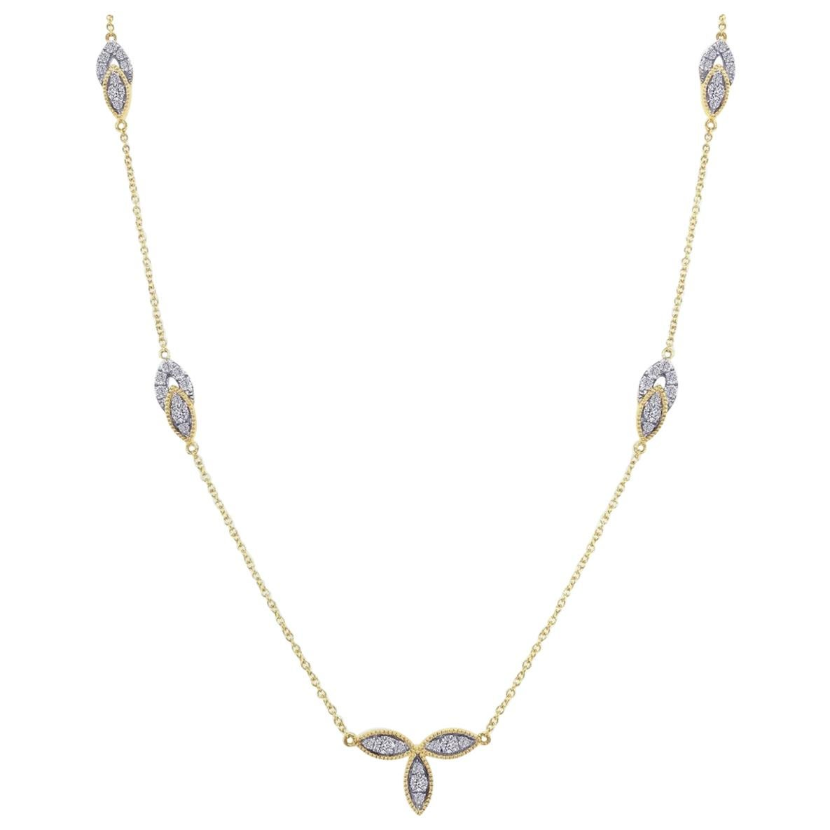 Diamond Bloom Necklace in 18 Karat Gold