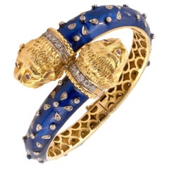 Diamond & Blue Enamel Double Headed Lion Bracelet