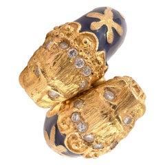 Diamond & Blue Enamel Double Lion Head Ring