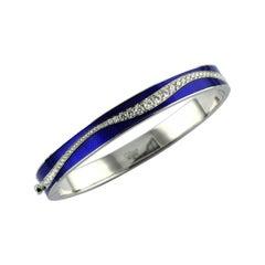 Diamond Blue Enamel Plated White 18 Karat Gold Cintemani Bangle Bracelet