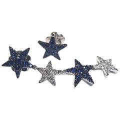 Diamond Blue Sapphire 18 Karat White Gold Stars Made in Italy Earrings