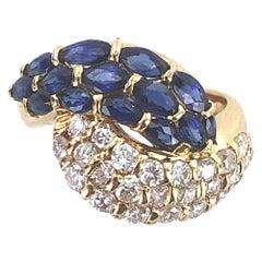 Diamond Blue Sapphire Bypass 18 Karat Yellow Gold Ring