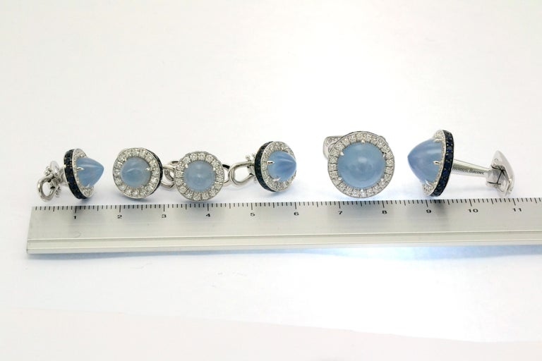Round Cut Diamond Blue Sapphire Chalcedony White Gold Made in Italy Cufflinks For Sale