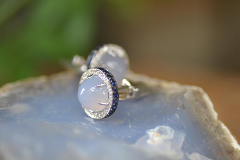 Diamond Blue Sapphire Chalcedony White Gold Made in Italy Cufflinks In New Condition For Sale In Valenza , IT