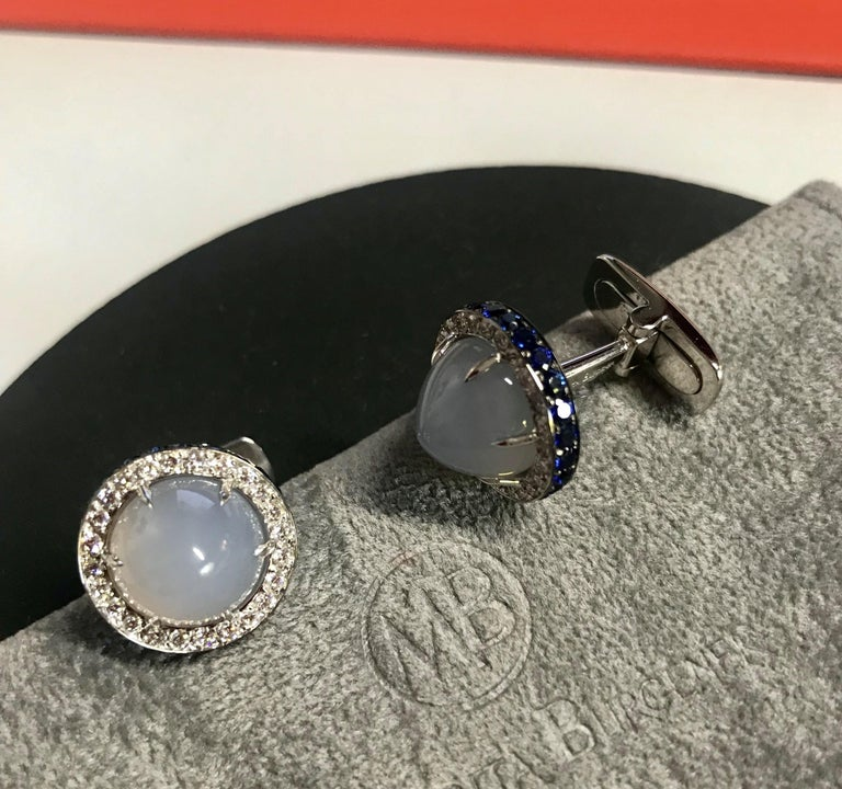 Women's or Men's Diamond Blue Sapphire Chalcedony White Gold Made in Italy Cufflinks For Sale