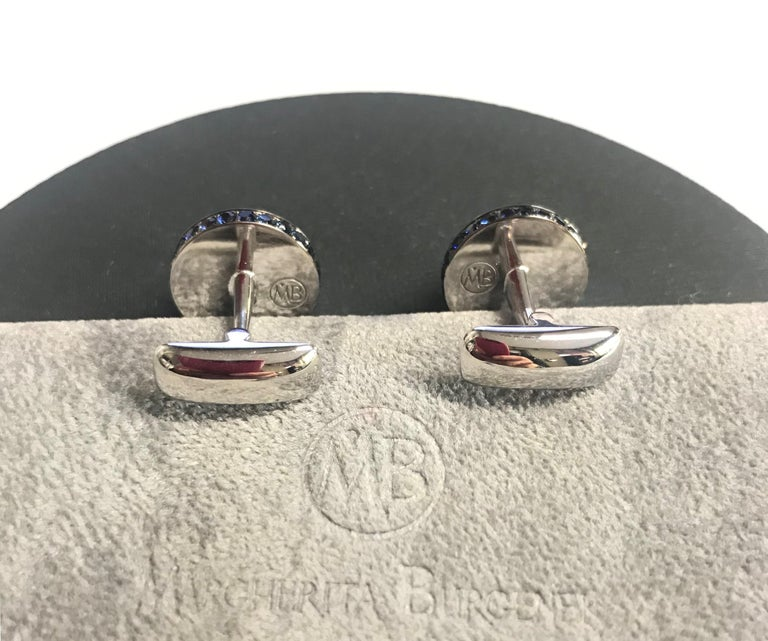 Diamond Blue Sapphire Chalcedony White Gold Made in Italy Cufflinks For Sale 1