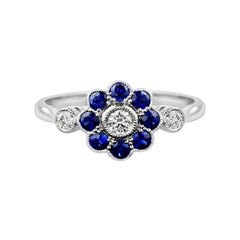Fleur Daisy Natural Blue Sapphire with Diamond Ring in White Gold 18K