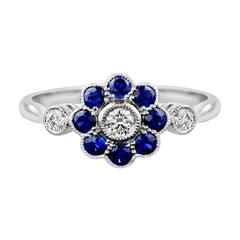 Diamond Blue Sapphire Cocktail Ring
