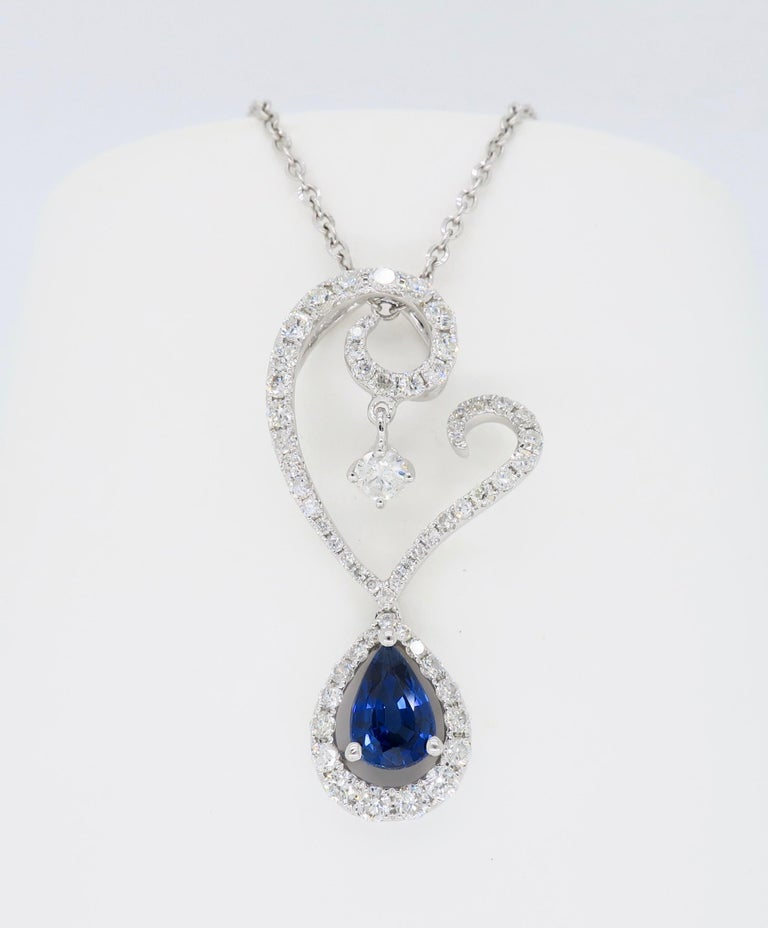 Diamond and Blue Sapphire Drop Pendant Necklace in 18 Karat White Gold In New Condition For Sale In Webster, NY