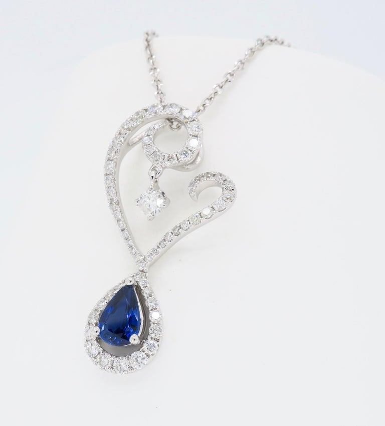 Women's Diamond and Blue Sapphire Drop Pendant Necklace in 18 Karat White Gold For Sale