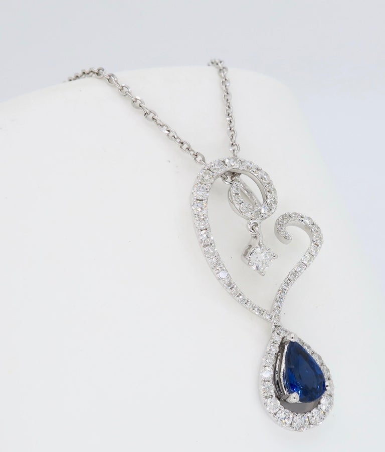Diamond and Blue Sapphire Drop Pendant Necklace in 18 Karat White Gold For Sale 1