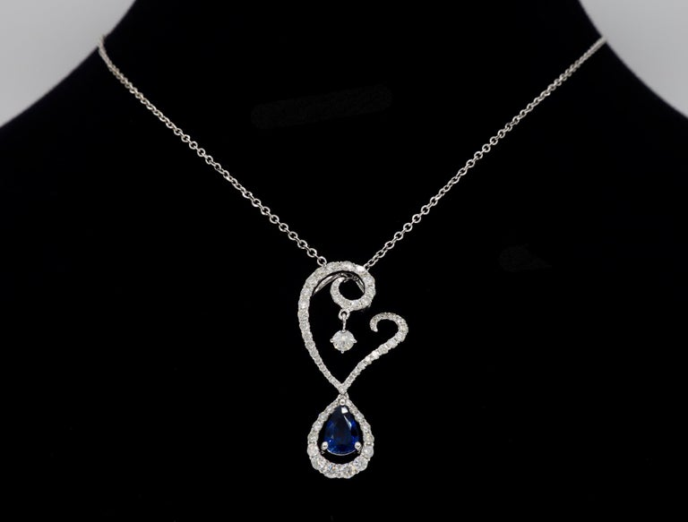 Diamond and Blue Sapphire Drop Pendant Necklace in 18 Karat White Gold For Sale 2