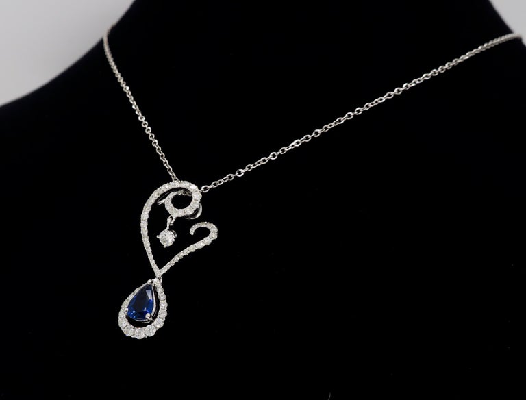 Diamond and Blue Sapphire Drop Pendant Necklace in 18 Karat White Gold For Sale 3