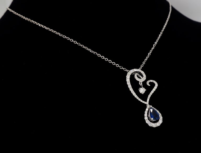 Diamond and Blue Sapphire Drop Pendant Necklace in 18 Karat White Gold For Sale 4