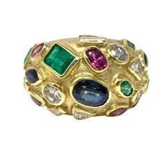 Diamond, Blue Sapphire, Emerald and Ruby Ring in 18 Karat Gold