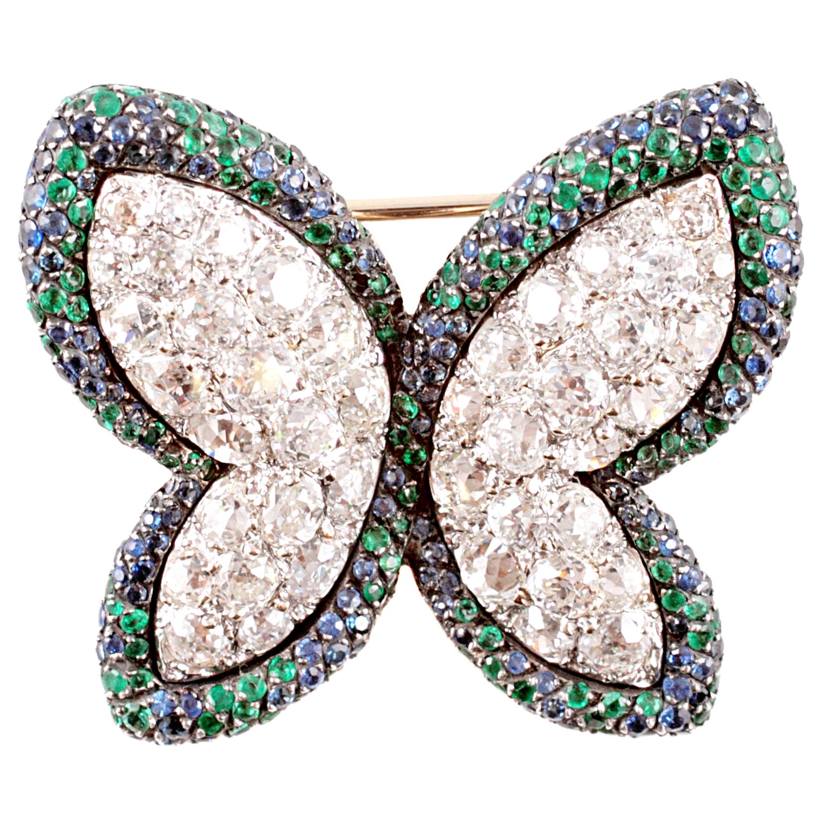 Diamond Blue Sapphire Emerald Butterfly Brooch