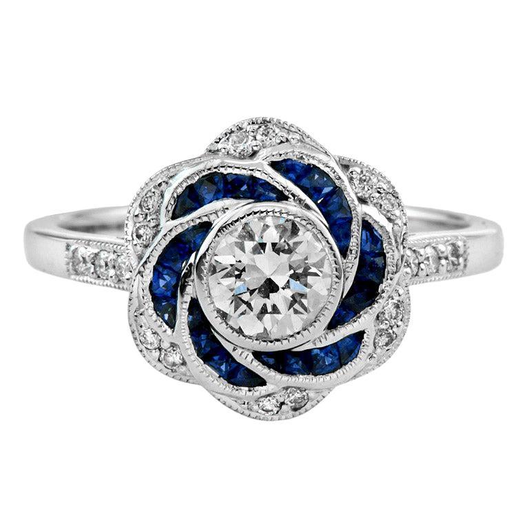 Diamond Blue Sapphire Engagement  Ring