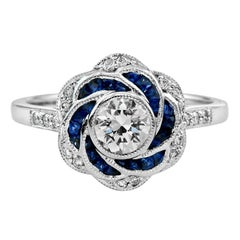 Diamond Blue Sapphire Engagement Ring