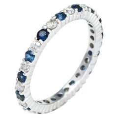 Diamond Blue Sapphire Eternity Ring 5.75 Vintage 14 Karat Gold Estate Jewelry