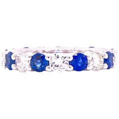 Diamond Blue Sapphire Eternity Wedding Band 18 Karat White Gold